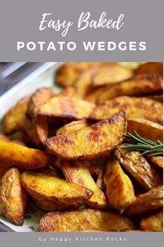 Easy and perfectly crispy oven Baked Potato Wedges will become your go-to side dish or appetizer. Much healthier than french fries and the tastiest potatoes you'll ever taste! #appetizer #snack #potatowedges #sidedish #dinner | happykitchen.rocks