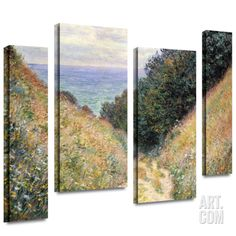 Footpath 4 piece gallery-wrapped canvas Canvas Art Set by Claude Monet at Art.com