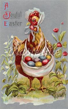 A vintage Easter postcard of a hen carrying colored Easter eggs ...