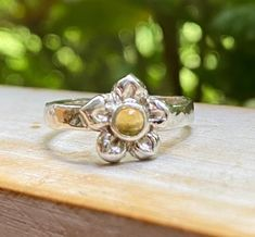 Excited to share this item from my #etsy shop: Citrine Flower Ring - Sterling Silver with Hammer Textured Band Sterling Silver Flowers, Sterling Silver Chains, Sweet Ring, Silver Stacking Rings, Snake Ring, Hammered Silver, Clear Quartz, Beautiful Hands, Ethereal