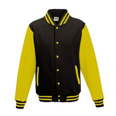 Just Hoods JH043 Jet Black and Sun Yellow Varsity Jacket - £19.35