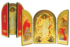 Resurrection of Christ Triptych Russian Silk Orthodox Icon » Mounted Orthodox Icon Triptychs » ArchangelsBooks.com