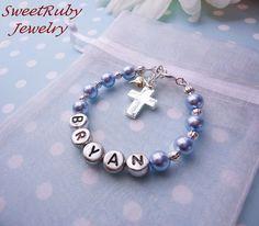 Personalized Boys Cross Charm Bracelet-All Swarovsiki