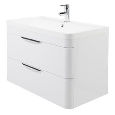 Monza Wall Hung 2 Drawer Vanity Unit with Basin W800 x D445mm