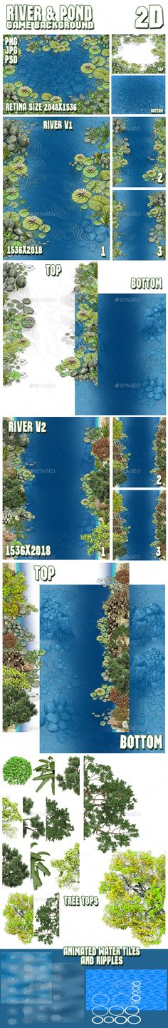 2D River & Pond Game Backgrounds Pack - Tilesets Game Assets