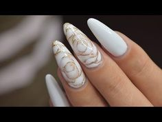 White Roses with Blooming Gel Rose Nail Design, Rose Nail Art, Rose Nails, Gel Nail Art, Holiday Nail Designs, Gel Nail Designs, Silver Nails, White Nails, Subtle Nails