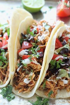 One of my favorite easy, slow cooker meals! Cilantro Lime Chicken Tacos made in the crockpot. And the ingredients are just dump and go! Crockpot Chicken And Noodles, Chicken Taco Recipes, Keto Crockpot Recipes, Healthy Recipes, Slow Cooker Recipes, Mexican Food Recipes, Cooking Recipes, Crockpot Meals, Slow Cooker Chicken Tacos