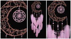 Pink Dream Catcher Moon Dreamcatcher Copper dreamcatcher rose quartz dreamcatchers wall decor handmade gift idea Valentine's Day pink gift