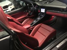 Porsche 911 Turbo S Interior | Red leather | Design | #rent #sports #luxury #exotic #car