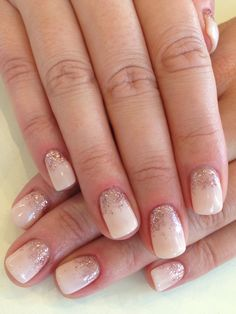 Gel: - Rose with pink loose gradient glitter)( what is bio sculpture gel? I have to find it.Sculpture Gel: - Rose with pink loose gradient glitter)( what is bio sculpture gel? I have to find it. Bio Gel Nails, Nude Nails, Pink Nails, Bio Sculpture Gel Nails Summer, Bio Sculpture Nails, Champagne Nails, Wedding Day Nails, White Glitter Nails, Romantic Nails