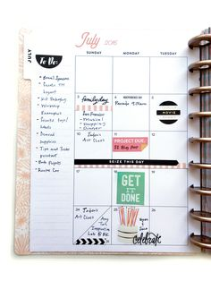 July monthly layout in the Rose Gold Horizontal Happy Planner™ of mambi Design Team member Theresa Doan | me & my BIG ideas