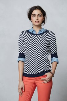 Seafellow Sweater - Anthropologie.com  Mixing up my love of navy and white stripes with chevron