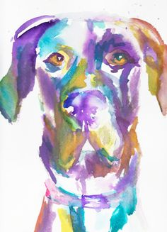 Print of Watercolor Painting Toby the Great (Dane) 8 x 10 Original Watercolor Purple Yellow Blue Dog Puppy