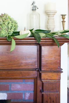 A simple mantel with dried hydrangeas and how to dry your own