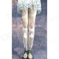 c958de814 Stylish Cat Pattern Velvet Pantyhose Stockings - Grey