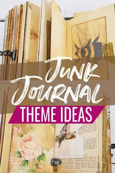 73 Junk Journal Theme Ideas Looking for junk journal ideas for your next creation? This massive list of junk journal theme ideas will give you lots of inspiration for your next junk journal project! Album Journal, Scrapbook Journal, Art Journal Pages, Journal Cards, Junk Journal, Bullet Journal, Journal Covers, Handmade Journals, Handmade Books