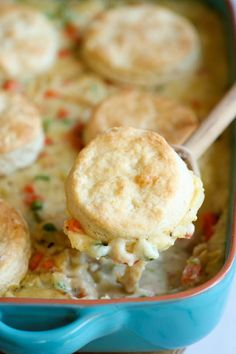 "Biscuit Pot Pie - ""Comfort food never tasted so good in this comforting and creamy pot pie topped with easy homemade biscuits!"""