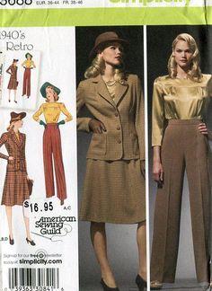 Simplicity 3688 Retro 1940's Katherine Hepburn Wardrobe Reproduction Old Store Stock Uncut by LanetzLivingPatterns on Etsy