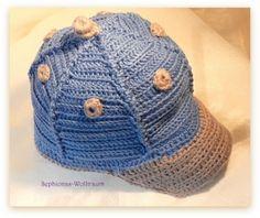 shop.sephionas-wolltraum.de - Baseballcap Gr.50, blaugrau, Footballcap