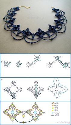 Free pattern for beautiful necklace Cold Evening by Rakomchuiy - diy jewelry tutorial Diy Necklace Patterns, Beaded Bracelet Patterns, Beading Patterns, Beaded Earrings, Diy Jewelry Tutorials, Jewelry Crafts, Handmade Jewelry, Beading Tutorials, Bead Jewelry