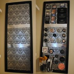 Magnetic makeup board! This is by far one of my favorite crafts I've done. (Made with frame [either purchased or handmade], sheet metal.