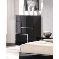 Lucca Chest in Black Lacquered Finish by J&M