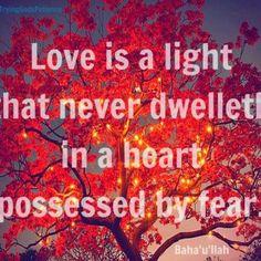 Love and Fear cannot dwell in the same heart. (Baha'i Faith)