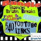 A bundle of 4 PDF products totaling 540 YouTube video hyperlinks for direct access without the searching to BRAIN BREAKS, DANCES, EXERCISES, FLUENCY, PHONICS, AND LANGUAGE ARTS PRACTICE through FUN SONGS, POEMS, & VIDEOS. PDFs have hyperlinks that when clicked take you directly to the YouTube videos.