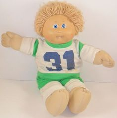 """Blonde Hair Cabbage Patch Kid Boy Doll Blue Eyes # 4 Red Signature 16"""" Soccer"""