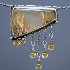 STERLING SILVER NECKLACE with Grave Yard Plume Agate and Citrine Gemstones