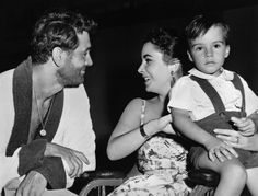 Rock Hudson, Elizabeth Taylor and son Michael Wilding jr. on the set of Giant.