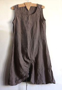Vintage linen tunic dress, natural linen, lagenlook