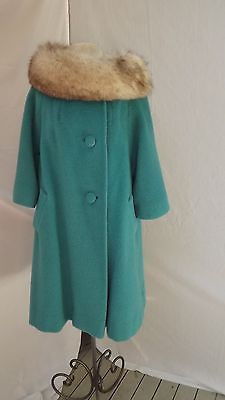Lilli Ann Vtg. 50-60's Blue Mohair/Wool Swing Trapeze Coat Gray Fox Fur Collar