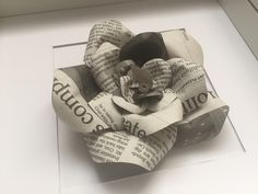 Classic upcycled newspaper paper rose by Karolina Rose. Made to order and available framed or unframed. Great gift ideas for the home. #PaperRose #Newspaper #Gift
