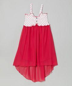 Look at this #zulilyfind! Fuchsia Polka Dot Hi-Low Dress - Toddler & Girls by Littoe Potatoes #zulilyfinds