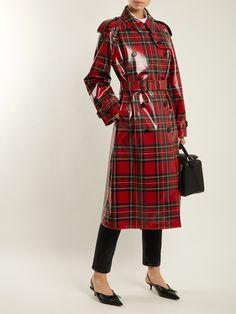 Laminated-tartan wool trench coat | Burberry | MATCHESFASHION.COM Burberry Trench Coat, Wool Trench Coat, Red Plaid, Tartan, Imper Pvc, Rain Fashion, Pvc Raincoat, Rain Wear, Lady