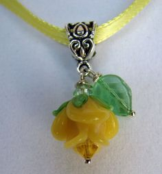 Yellow Rose Jewelry Charm Pendant Yellow Rose Texas Rose by PerfectPosies, $14.99