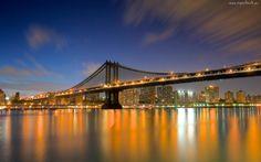 Most, Miasto, Nocą, Rzeka, Manhattan