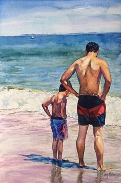 Figure Painting, Figure Drawing, Painting Tips, Watercolor Illustration, Watercolor Paintings, Young Cute Boys, Sea Art, Human Art, Artist Gallery