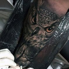 Realistic Badass Owl Woods Forearm Sleeve Guys Tattoos                                                                                                                                                     More
