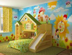 Купить Детская кровать «Домик» - комбинированный, декоративные элементы, красный, белый, зеленый, желтый, сосна