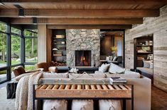 Modern rustic retreat designed to feel like a summer camp on Orcas Island. This modern rustic retreat was designed by DeForest Architects in collaboration with NB Design Group, located on Orcas Island, Washington. Modern Rustic Decor, Modern Rustic Homes, Modern Farmhouse, Rustic Style, Rustic Design, Modern Design, Modern And Rustic Living Room, Farmhouse Style, Modern Lodge