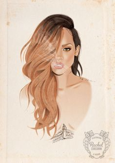 RIHANNA Portrait Poster - Smokey - Fashion Illustration - Tattoo Art - Pencil and Digital Print - Pink - Peach - Brown - Beige on Etsy, $41.16