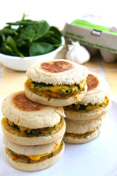 Spinach, Egg & Pepper Jack Cheese Breakfast Sandwiches...