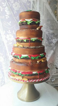 Cakery Creation - 4 tier burger and fries cake by Cakery Creation...