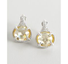 Judith Ripka canary crystal and white sapphire 'Glacier' oval earrings $268