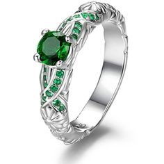 Amazon.com: Harry Potter Slytherin Ring Green Crystal Ring 7 Christmas... (48 AUD) ❤ liked on Polyvore featuring jewelry