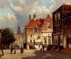 Place de la ville de Willem Koekkoek (1839-1895, Netherlands)
