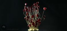 How impressive! A decorative table center piece with 60 glass gems on bronze base