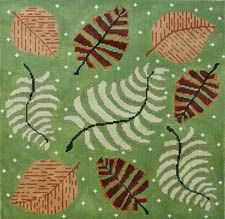 Elizabeth Turner Collection-Pillows needlepoint canvas ferns and leaves